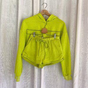 Neon 2 Piece Crop Hoodie/Pants Set